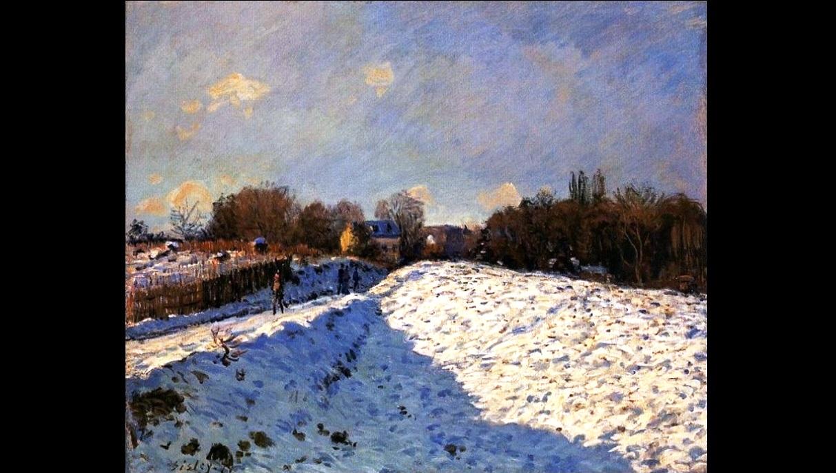 La neve in Sisley. Amò colori saturi per rendere i