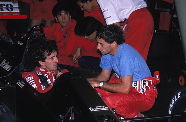 Imola - G.P. San Marino,1989 Ayrton Senna con Alain Prost © FOTO ERCOLE COLOMBO
