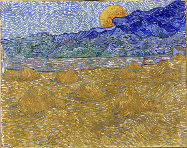 Vincent Van Gogh (Zundert 1853 - Auvers-sur-Oise 1890)Paesaggio con fasci di grano e luna che sorge luglio 1889 Olio su tela, 72x91,3 cm Kröller-Müller Museum, Otterlo, Netherlands © Collection Kröller-Müller Museum, Otterlo, the Netherlands www.krollermuller.nl