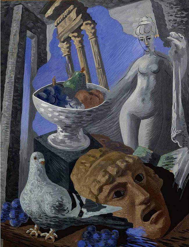 Gino Severini, Natura morta con ruderi, piccione e statua, 1931, tempera su cartoncino