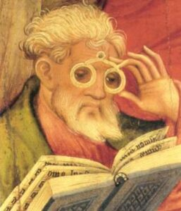 L'apostolo degli occhiali di Conrad von Soest (1403)