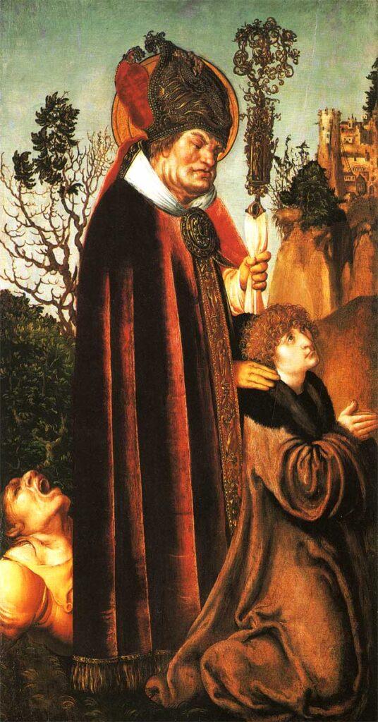 San Valentino (con il committente del dipinto), di Lucas Cranach, Galleria delle arti figurative di Vienna, particolare, 1502. La figura si lega probabilmete a una grazia ricevuta dal committente che, grazie al santo vescovo, ha vinto l'epilessia
