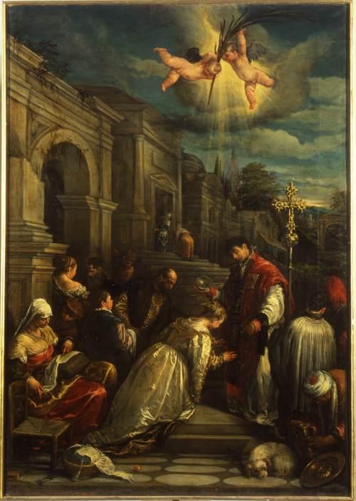San Valentino battezza santa Lucilla, opera eseguita nel 1575 da Jacopo Bassano, oggi al Museo civico di Bassano del Grappa.
