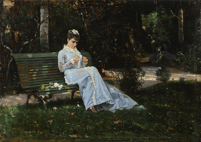 Cristiano Banti Ritratto di Alaide Banti in giardino 1875 ca. Olio su tavoletta, 29,8x42 cm Collezione privata