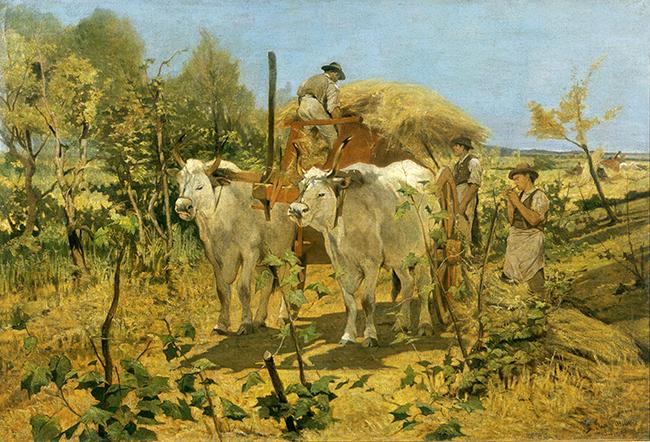 Giovanni Fattori Raccolta del fieno in Maremma 1867-1870 Olio su tela, 110x160 cm Collezione privata