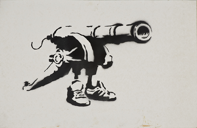 Banksy Bad meaning good 2001 Stencil e spray su cartone, 37,5x58 cm Collezione Reinking, Amburgo