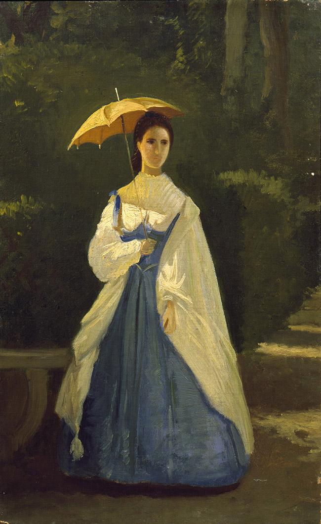 Vito D'Ancona Signora in giardino 1861 Olio su tela, 37,9x25,3 cm Collezione privata