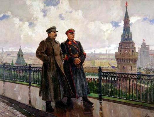 Alexandre Guerassimov, Stalin e Vorochiilov al Cremlino, 1938, olio su tela, 150x195 cm.