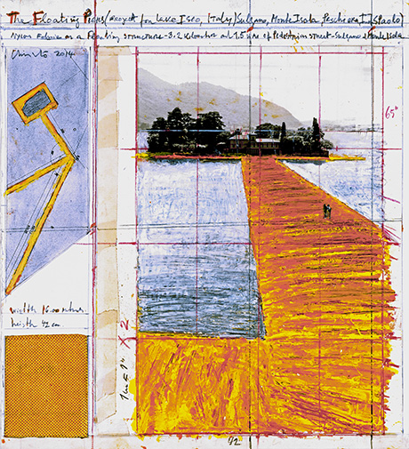 "CHRISTO - THE FLOATING PIERS (PROJECT FOR LAKE ISEO, ITALY) Collage 2014 15 1/4 x 13 7/8"" (38.7 x 35.2 cm) Pencil, wax crayon, enamel paint, photograph by Wolfgang Volz, technical data, fabric sample and tape Photo: André Grossmann © 2014 Christo"