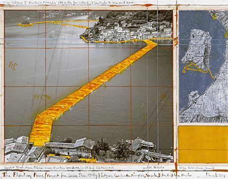 "CHRISTO - THE FLOATING PIERS (PROJECT FOR LAKE ISEO, ITALY) Collage 2014 17 x 22"" (43.2 x 55.9 cm) Pencil, wax crayon, enamel paint, photograph by Wolfgang Volz, map, fabric sample and tape Photo: André Grossmann © 2014 Christo"