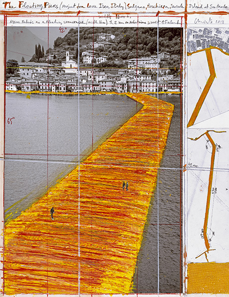 "CHRISTO - THE FLOATING PIERS (PROJECT FOR LAKE ISEO, ITALY) Collage 2014 22 x 17"" (55.9 x 43.2 cm) Pencil, wax crayon, enamel paint, photograph by Wolfgang Volz, technical maps, fabric sample and tape Photo: André Grossmann © 2014 Christo"