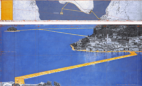 "CHRISTO - THE FLOATING PIERS (PROJECT FOR LAKE ISEO, ITALY) Drawing 2014 in two parts 15 x 96"" and 42 x 96"" (38 x 244 cm and 106.6 x 244 cm) Pencil, charcoal, pastel, wax crayon, enamel paint, hand-drawn map, cut-out photographs by Wolfgang Volz, fabric sample and tape Photo: André Grossmann © 2014 Christo Ref. # 2-2014"