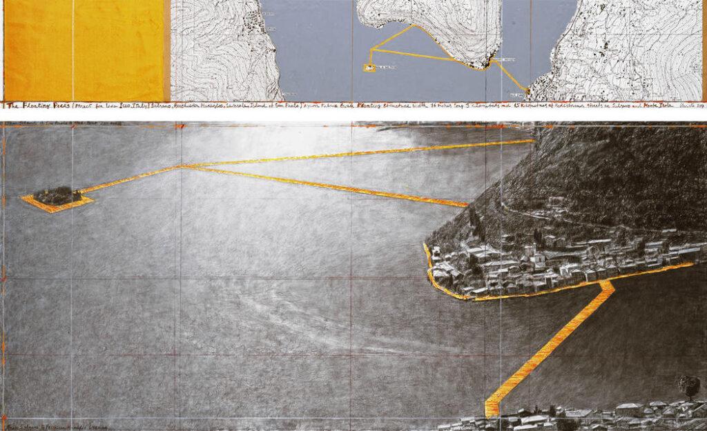 """Christo The Floating Moli (Progetto per Lago d'Iseo, Italia) Disegno 2014 a due parti 15 x 96 """"e 42 x 96"""" (38 x 244 cm e 106,6 x 244 cm) a matita, carboncino, pastello, pastello a cera, smalto, topografico mappa, campione di tessuto e il nastro Photo: André Grossmann © 2014 Christo Ref. # 1-2014"""