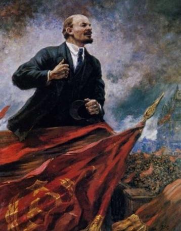 Alexandre Guerassimov Lenin sul podio, 1930, olio su tela