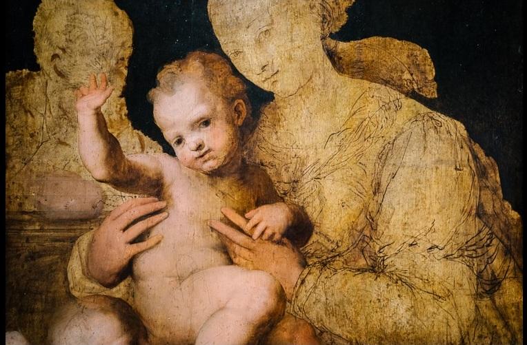 """Perin del Vaga, Sacra famiglia con san Giovannino"""". Le figure di San Giuseppe e della Madonna non sono state completate con la pittura. L'artista ha steso una preparazione chiara sul fondo. Haa poi attesoche ascgiugasse. Con penna e inchiostro ha quindi tracciato il dettagliato disegno preparatorio. Ha quindi dipinto Gesù Bambino, ma il suo lavoro si è interrotto"""