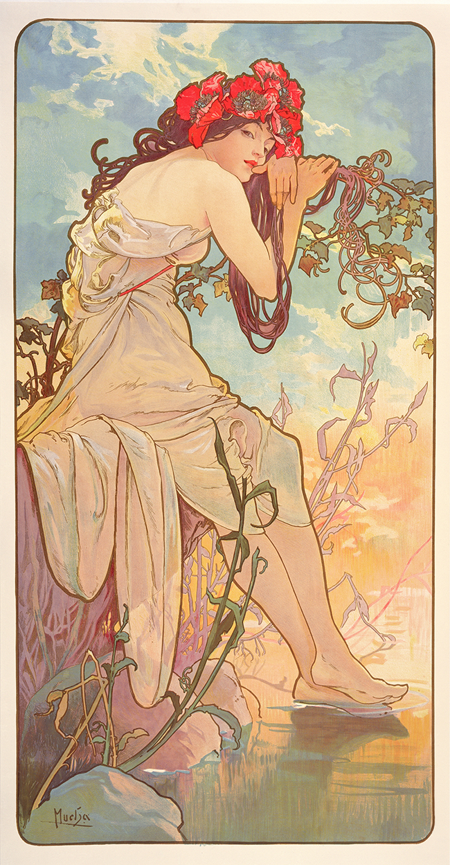 Alphonse Mucha Le stagioni: Estate 1896 Serie di quattro pannelli decorativi Litografie a colori, 103x54 cm ciascuna © Mucha Trust 2016