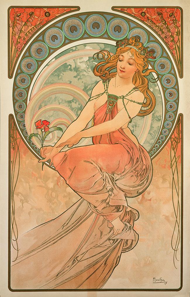 Alphonse Mucha Le Arti: Pittura 1898 Serie di quattro pannelli decorativi Litografie a colori, 60x38 cm ciascuna © Mucha Trust 2016