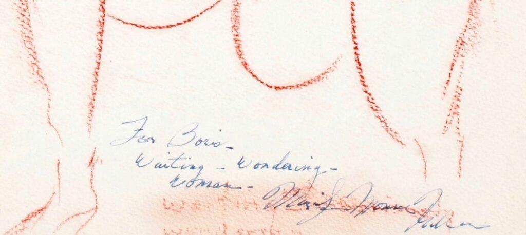 L'ingrandimento della dedica. L'attrice aveva forse realizzato ben prima il dipinto, ponendo alla base un'altra scritta con matita sanguigna. Poi cancellò parzialmente quelle parole, sfocandole con il dito. Sovrappose la dedica, il titolo e la firma con una penna stilograficai