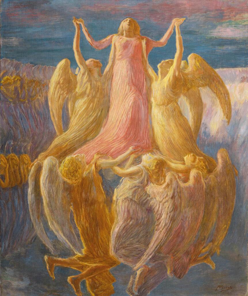 Gaetano Previati L'Assunzione, c.1901-03 Olio su tela, cm105x87. Photo credit: © Le Immagini – Luca Gavagna /Ferrara, Gallerie d'Arte Moderna e Contemporanea, Museo dell'Ottocento