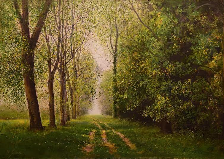 12 Grande viale di platani, olio su tela, cm 50 x 70