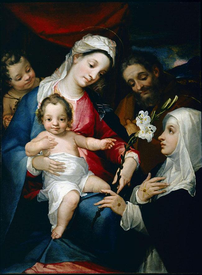 Alessandro Casolani, S. Famiglia con S. Giovannino e S. Caterina d'Alessandria Chigi