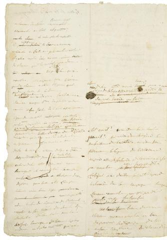 Uno dei 22 fogli manoscritti all'asta a New York