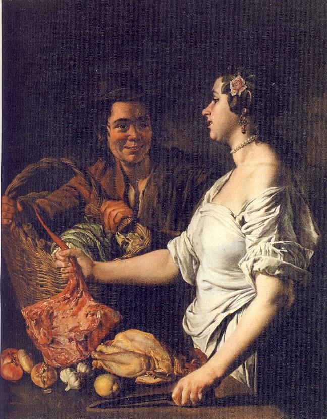 G.CERUTI,La cuoca e il portarolo, 1740-50 ca.,olio su tela, 146 x 114 cm, collezione privata