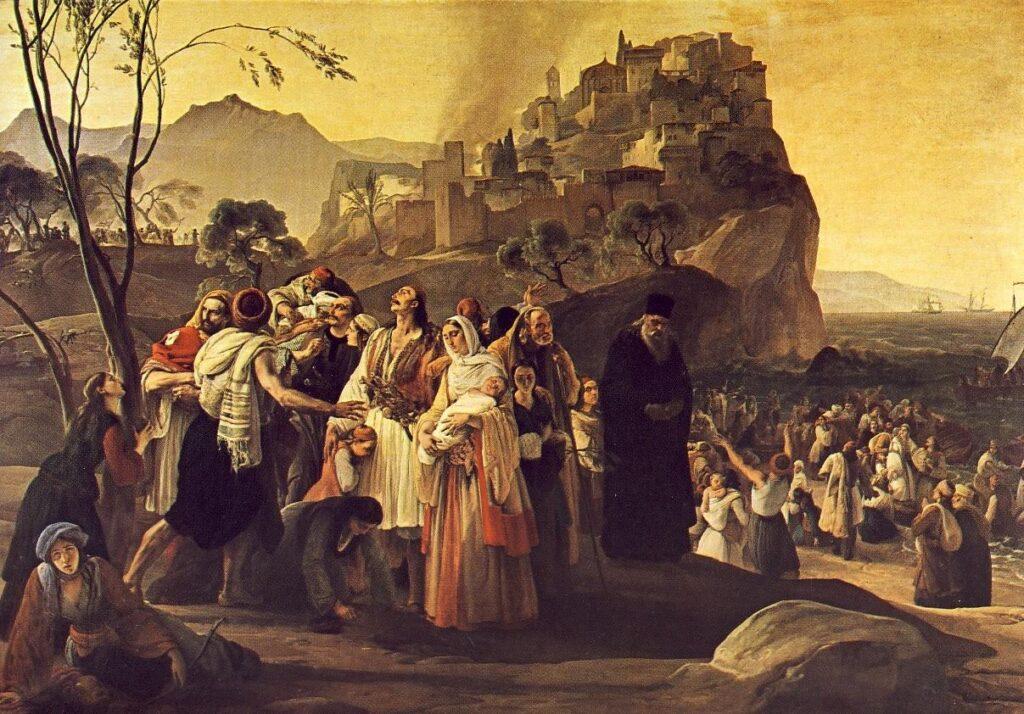 F. HAYEZ, I profughi di Parga, 1831, olio su tela, 201 x 290 cm, Brescia, Pinacoteca Tosio Martinengo