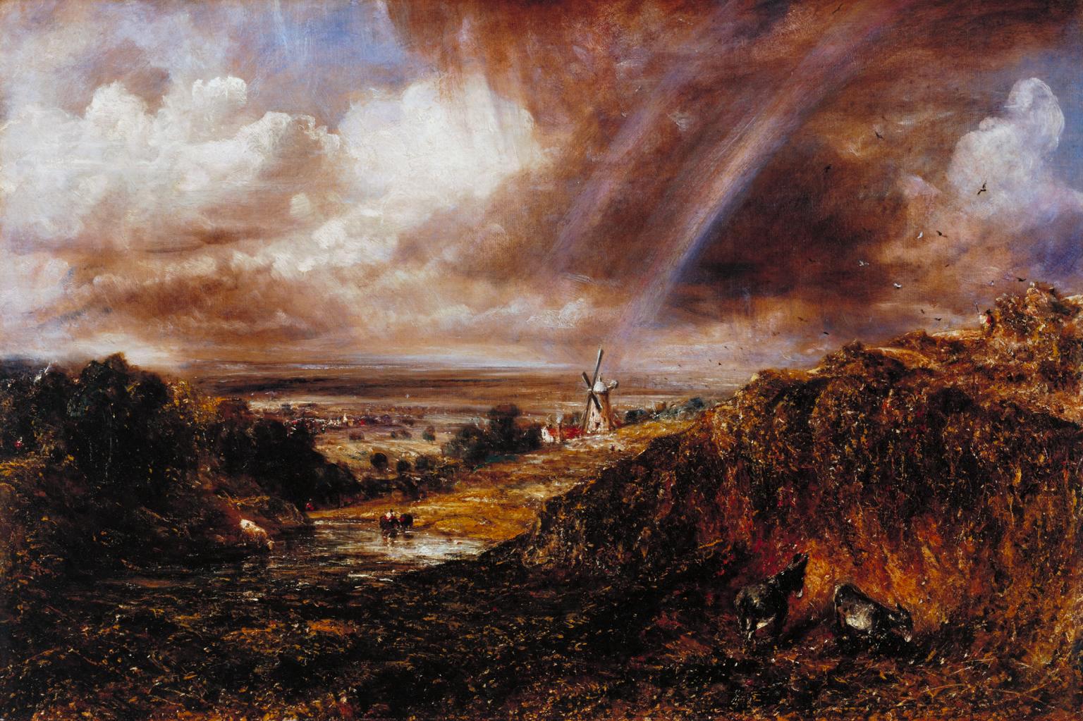 John Constable, Brughiera di Hampstead con un arcobaleno, 1836