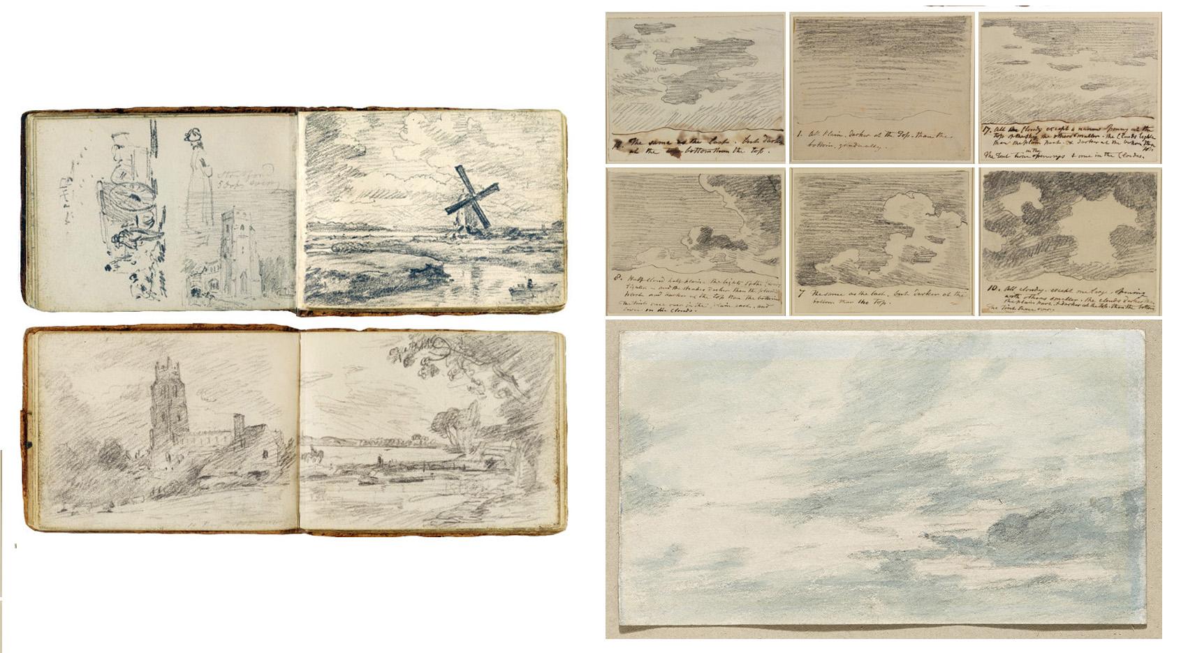 Alcuni dei quaderni che Constable utilizzava per i bozzetti delle opere