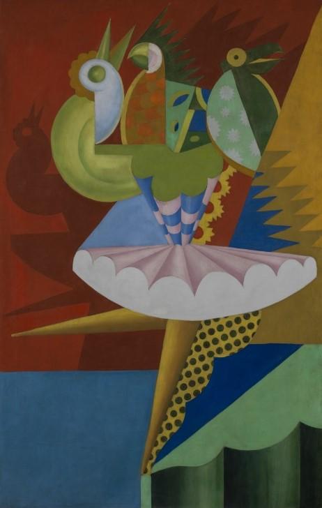 Fortunato Depero, Rotazione di ballerina e pappagalli, 1917, olio su tela. © Eredi Depero