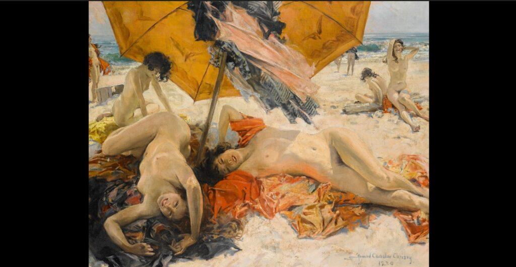 Howard Chandler Christy, Nudi sulla spiaggia, 1930, olio su tela, 101,5x127 cm