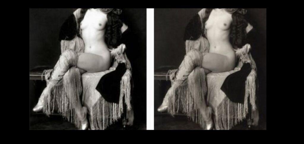 Immagine doppia di giovane, risalente all'Ottocento. In quegli anni il seno veniva pubblicamente mostrato solo da danzatrici e prostitute. Ma i tempi sono mutati. E l'attrice risponde con vigore a chi l'accusa per l'immagine a seno nudo pubblicata da Vanity Fair