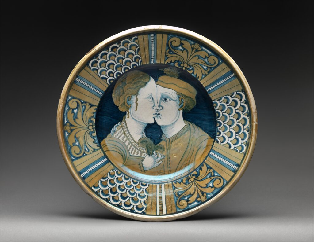 Plateau, ca. 1515–25 Italian (Deruta), Maiolica (tin-enameled earthenware), lustered; Overall (confirmed): 3 5/8 x 16 5/8 in. (9.2 x 42.2 cm) The Metropolitan Museum of Art, New York, Purchase, 1884 (84.2.11) http://www.metmuseum.org/Collections/search-the-collections/186686