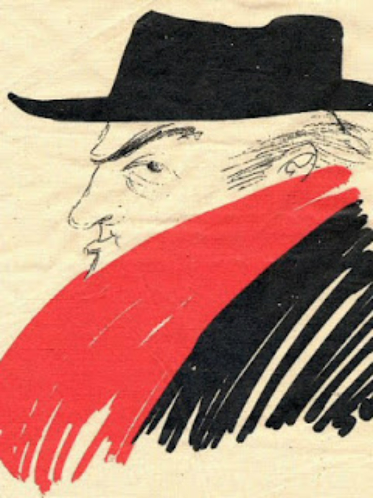 Federico Fellini, Autoritratto, disegno con rapido e pennarelli