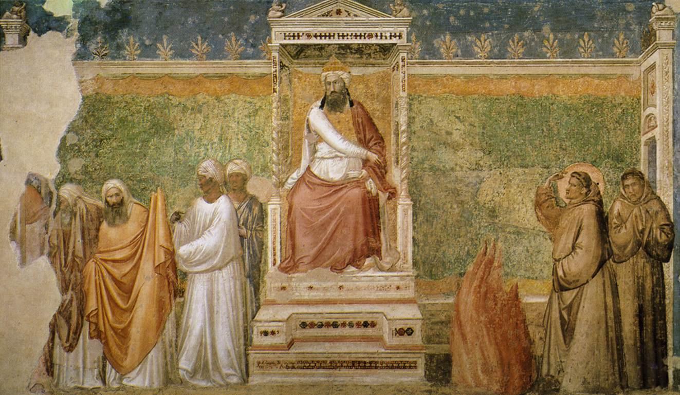 Giotto,  San Francesco e la prova del fuoco, Cappella Bardi, Santa Croce, Firenze