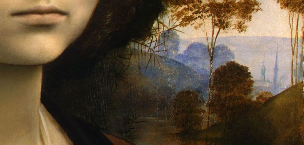 Leonardo da Vnci, Ritratto di Ginevra de' Benci, (particolare), olio su tavola, 42 × 37 cm