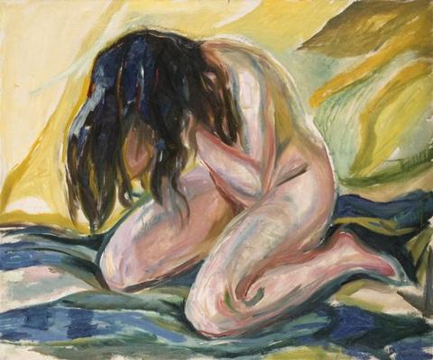 a munch Kneeling Female Nude, 1919