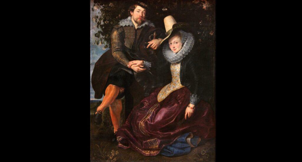 Pieter Paul Rubens , Autoritratto con la moglie Isabella Brant . olio su tela , 174x143 cm) realizzato tra il 1609 ed il 1610 da Pieter Paul Rubens ed è conse