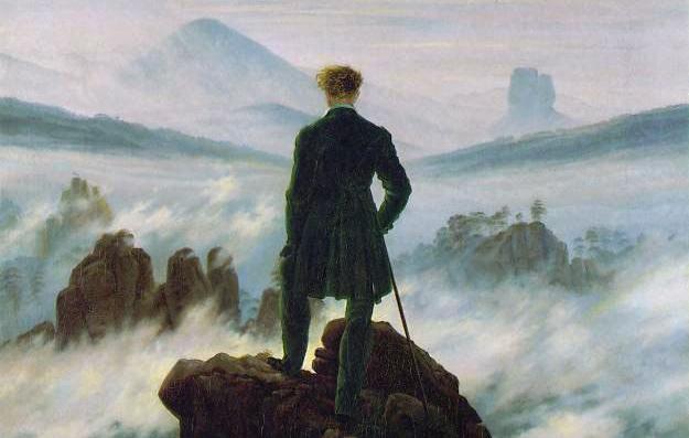 Caspar David Friedrich, Viandante sul mare di nebbia, Data1818 Tecnica olio su tela Dimensioni 98,4×74,8 cm Ubicazione Hamburger Kunsthalle, Amburgo
