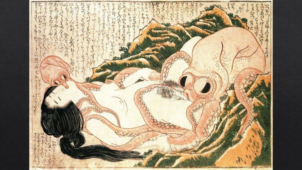 Sogno della moglie del marinaio, pittura su legno di Hokusai (1820).